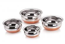 Skars Stainless Steel, Copper Handi Set, 250Ml, 500Ml, 1000Ml, And 1500Ml, 4 Piece (Silver) Cooking Bowl, Punjabi Pot Pan Combo Handi/Urli