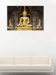 999Store Printed Golden Buddha In The Bamboo Forest Canvas Painting (36X24 Inches, Wooden Framed)
