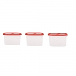 Simparte 360° Airtight Kitchen Storage Container Set For Rice|Dal|Atta|Flour|Cereals|Pulses|Snacks, Stackable|Bpa Free|Modular Design|Set Of 3 (1200 Ml), Blushing Red