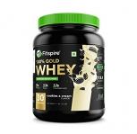 Fitspire Whey Gold Standard 100% Whey Protein Isolate | No Added Sugar | Zero Cholesterol & Gluten Free | Powder Supplement | Iso Certified – (Cookie & Cream, 1 Kg / 2.2 Lb)