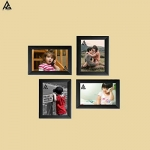 Ag Crafts™ Individual Photo Frames Wall Hanging Set Of 4, Black (Black)