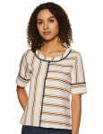 Krave Women'S Striped Regular Top (Ss19Kravebobby_Oyn_Off White/Yellow/Navy Xl)