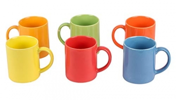 Anwaliya Vesta Tapered Ceramic Coffee Mugs, 250 Ml, Set Of 6, Pipe Multi Colour