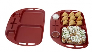 Simparte Unbreakable Plastic Kid-Friendly Serving Tray With Toothpick Holder, 4 Partitions For Tea And Snacks|Parties|Kitchen And Dining|Microwave Safe|Set Of 2, Red