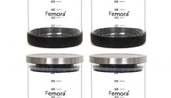 Femora Borosilicate Glass Air-Tight Jar With Silicon Base, 500 Ml, Set Of 4