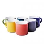 Anwaliya Army Series Ceramic Coffee Mugs, 230 Ml, Set Of 6, Enemal Shape