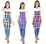 Glun Cotton Kitchen Multi Colour Apron With Front Pocket – Set Of 3(Color And Design May Vary)