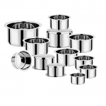 Vinod Stainless Steel Induction Friendly Flat Bottom Tope Without Lid – 12 Pieces Small Set – Capacity From 300 Ml & 6.70 Litre