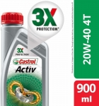 Castrol Activ 4T 20W-40 Petrol Synthetic Blend Engine Oil(0.9 L, Pack Of 1)