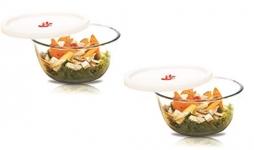 Signoraware Mixing Borosilicate Glass Bowl Set Of 2 With Lids, (1000Ml+1000Ml) Transparent