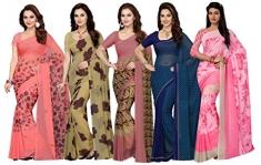 Ishin Combo Of 5 Faux Georgette Multicolor Printed Women'S Saree/Sari