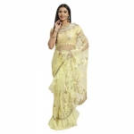 Womanista Women'S Green Net Embroidered Ruffle Designer Saree With Swarovski Crystal As Decoratives(Ti1650_Sea Green_Onesize), Free Size