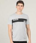 Printed Men Round Neck Grey T-Shirt
