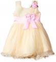 Smiling Bows Beige/Pink  Girls Dress
