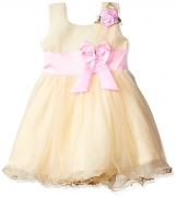 Smiling Bows Beige/Pink  Girls Dress