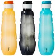 Solimo Plastic Water Bottle Set with Flip Cap (Set of 3, 1L)