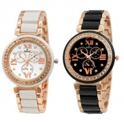 Swisstyle Analogue White Dial & Black Dial Womens Watches (Set of 2)