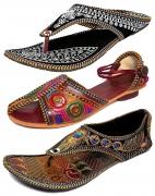 Thari Choice Women's Velvet Ethnic Slippers – Pack of 3