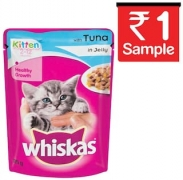 Whiskas Tuna in Jelly, Wet food for Kittens, 85 g pouch at 1 rupees