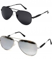 Younky Aviator Mercury Black Unisex Sunglasses Combo
