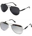 Younky Aviator Mercury Black Unisex Sunglasses Combo